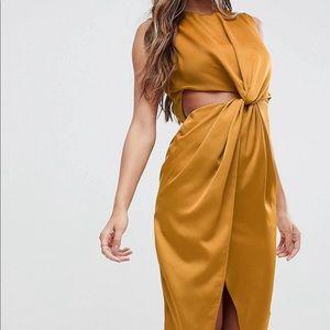 ASOS Twist Front Sexy Satin Pencil Dress